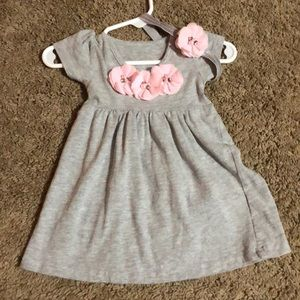 Other - Gray dress with pink flowers & matching headband